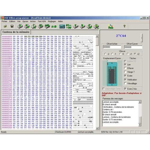 Logiciel pour programmateur d'eprom USB EVO