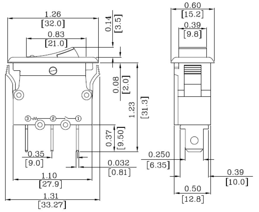 Dimensions disjoncteur Thermique